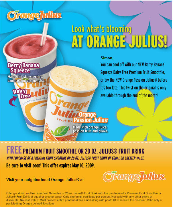 Orange Julius BOGO Deal